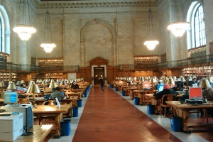 The reading room at the main branch of the New York Public Library