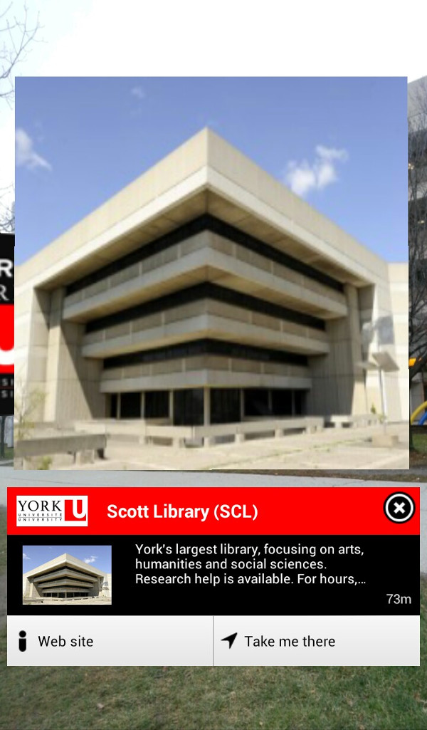 Screenshot of Layar looking at Scott Library at York University