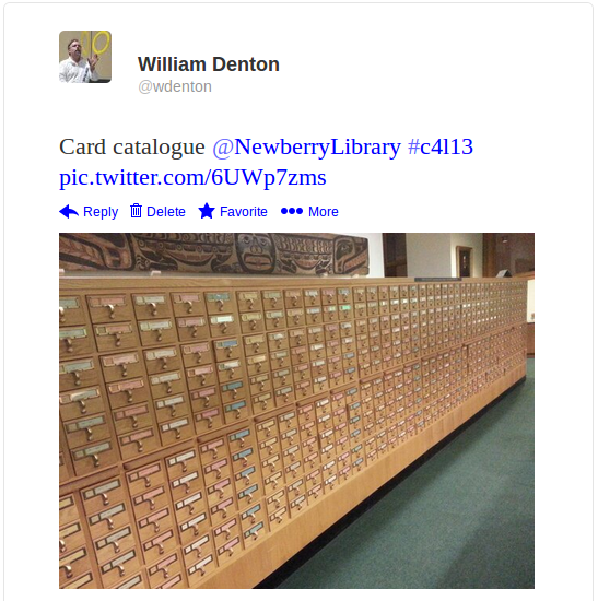 Newberry Library card catalogue tweet
