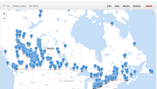 Map of major greenhouse gas emitters in Canada