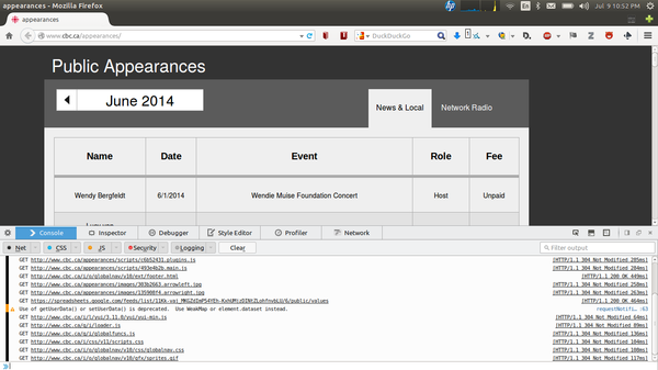 Screenshot of CBC appearances page with inspector on