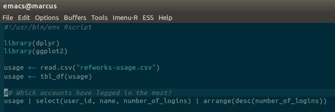 Screenshot of Emacs prettifying R