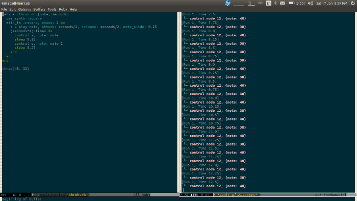 Emacs with sonic-pi-mode running