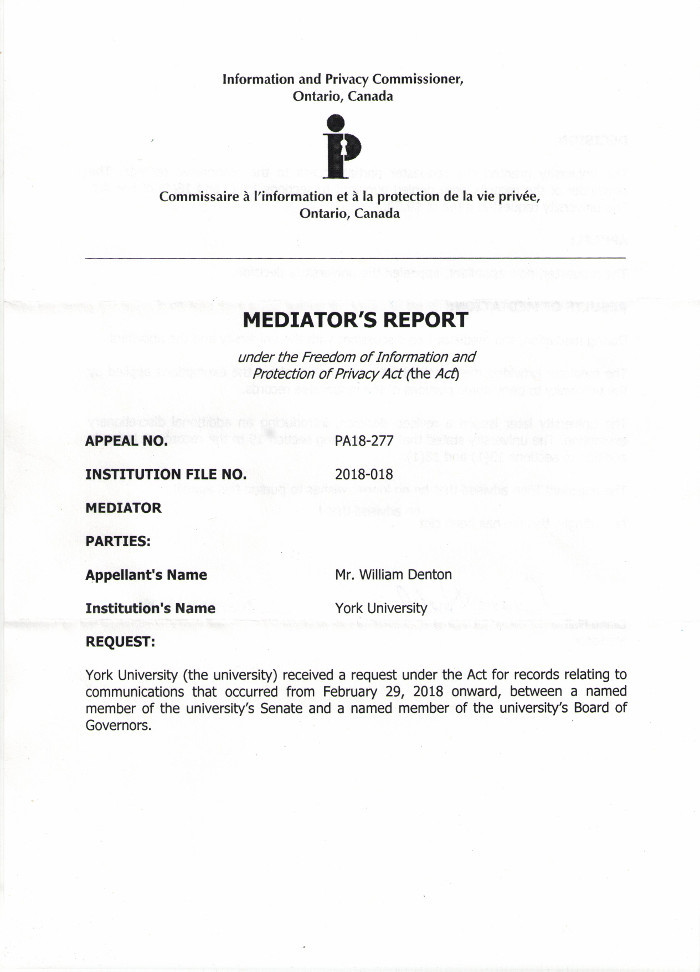 Page 1 of the mediator's report